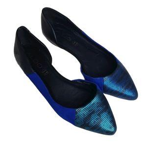 ALDO colorblock d'orsay blue suede snake flats 6.5